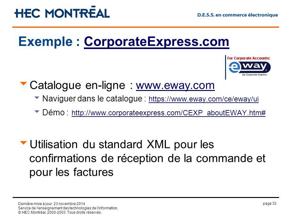 page 32 Dernière mise à jour: 23 novembre 2014 Service de l enseignement des technologies de l information, © HEC Montréal, 2000-2003.