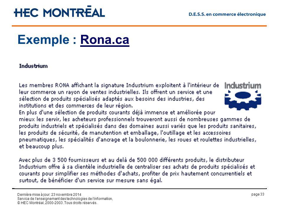 page 33 Dernière mise à jour: 23 novembre 2014 Service de l enseignement des technologies de l information, © HEC Montréal, 2000-2003.