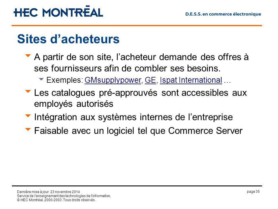 page 35 Dernière mise à jour: 23 novembre 2014 Service de l enseignement des technologies de l information, © HEC Montréal, 2000-2003.