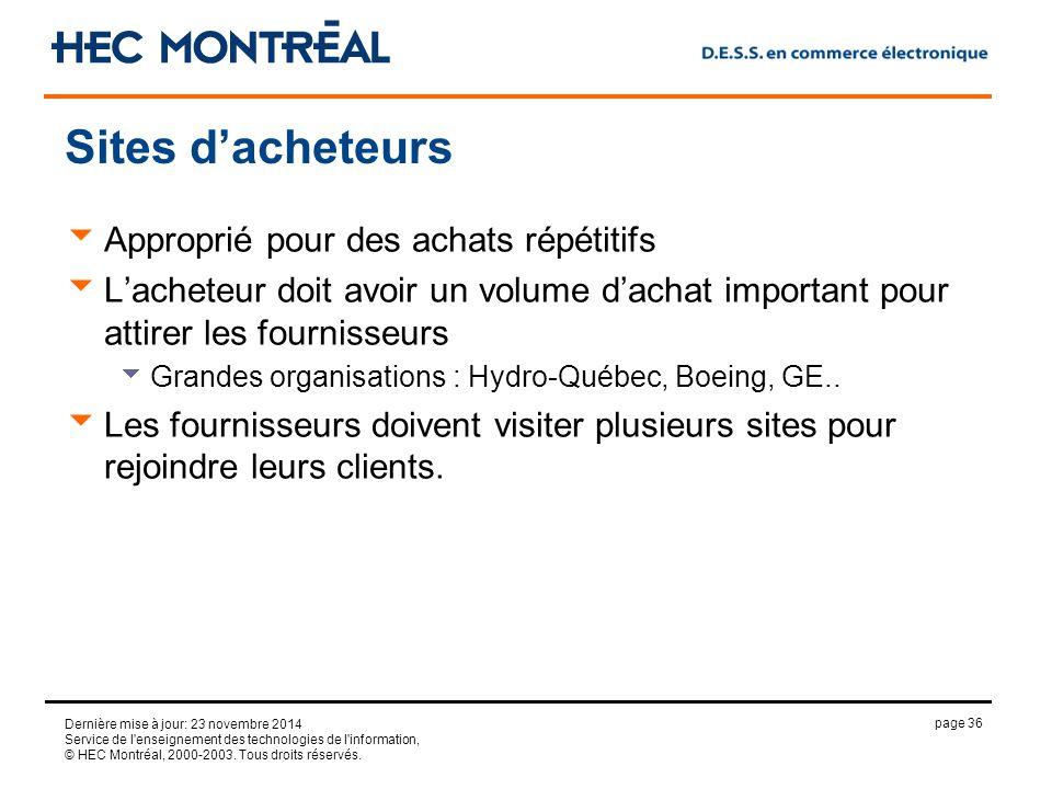 page 36 Dernière mise à jour: 23 novembre 2014 Service de l enseignement des technologies de l information, © HEC Montréal, 2000-2003.