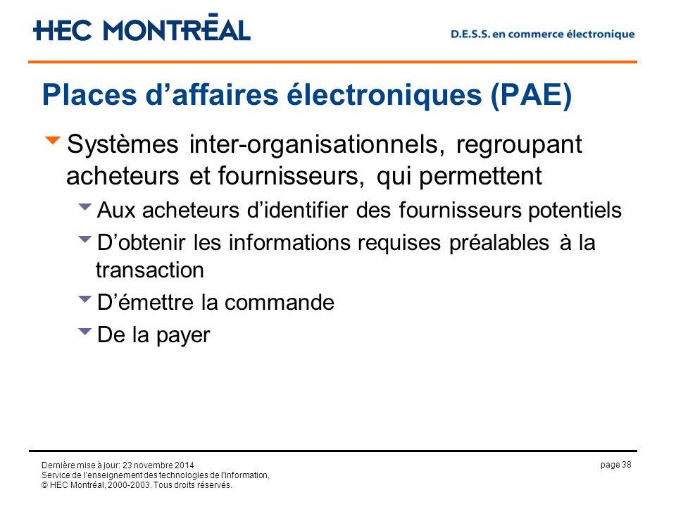 page 38 Dernière mise à jour: 23 novembre 2014 Service de l enseignement des technologies de l information, © HEC Montréal, 2000-2003.
