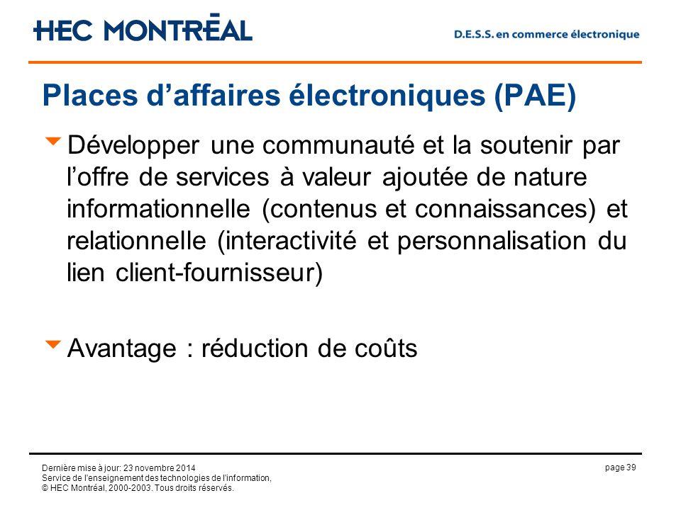 page 39 Dernière mise à jour: 23 novembre 2014 Service de l enseignement des technologies de l information, © HEC Montréal, 2000-2003.