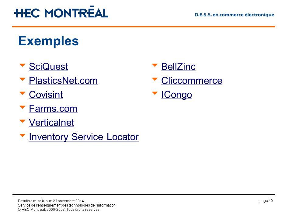 page 40 Dernière mise à jour: 23 novembre 2014 Service de l enseignement des technologies de l information, © HEC Montréal, 2000-2003.