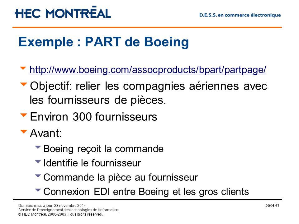 page 41 Dernière mise à jour: 23 novembre 2014 Service de l enseignement des technologies de l information, © HEC Montréal, 2000-2003.