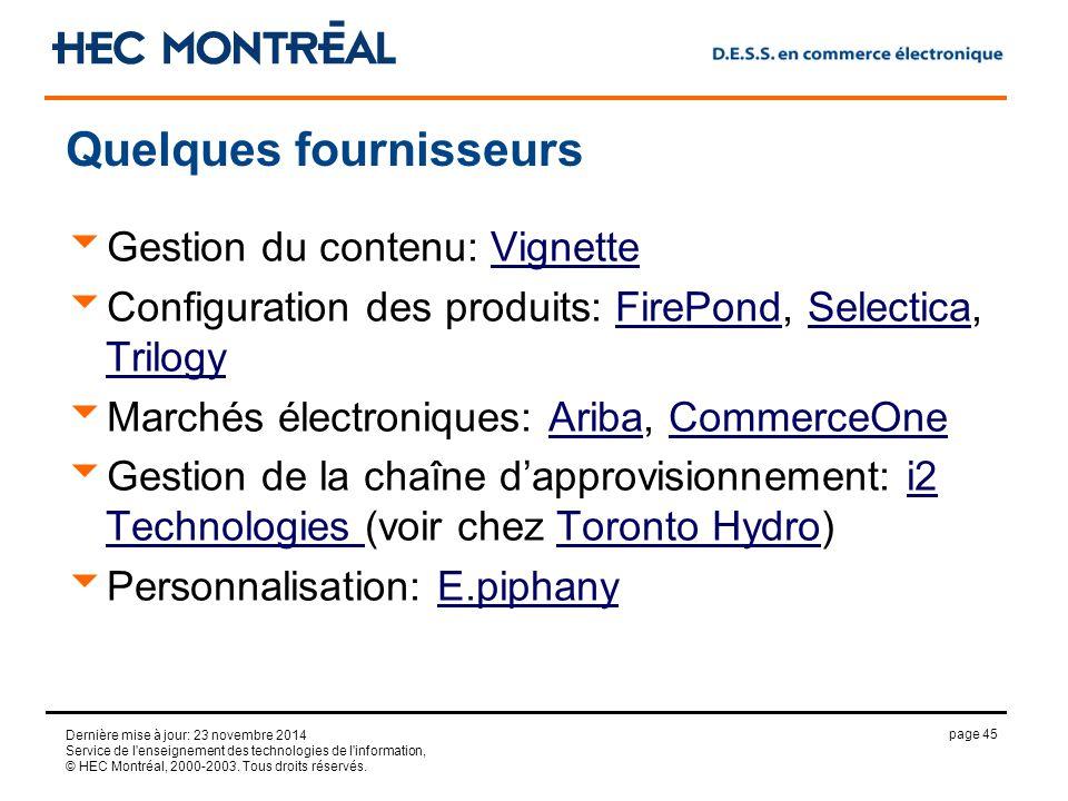 page 45 Dernière mise à jour: 23 novembre 2014 Service de l enseignement des technologies de l information, © HEC Montréal, 2000-2003.
