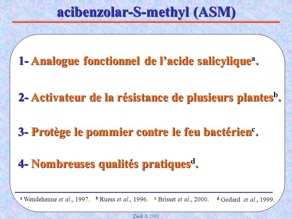 acibenzolar-S-methyl (ASM) 1- Analogue fonctionnel de l'acide salicylique a.