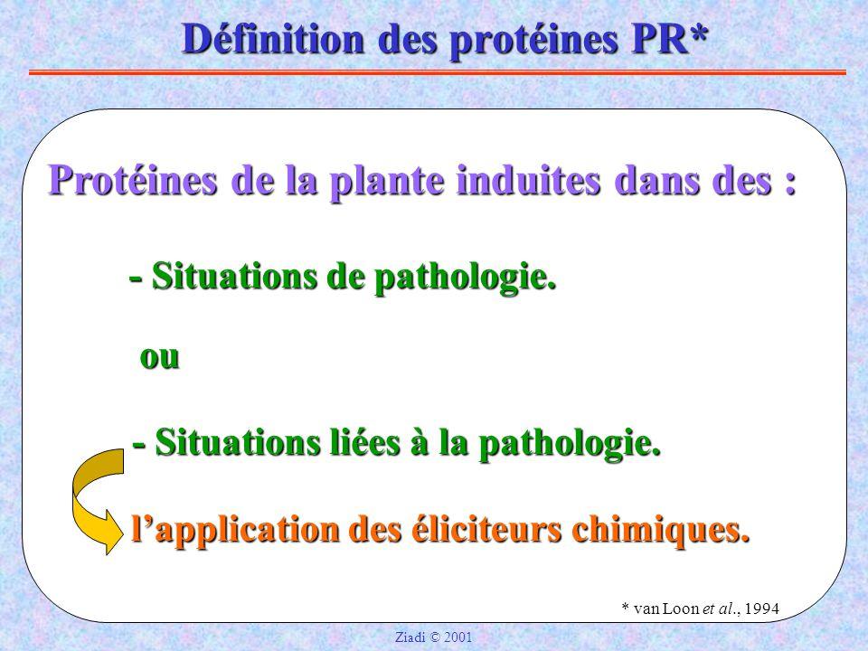 Définition des protéines PR* Protéines de la plante induites dans des : ou - Situations de pathologie.