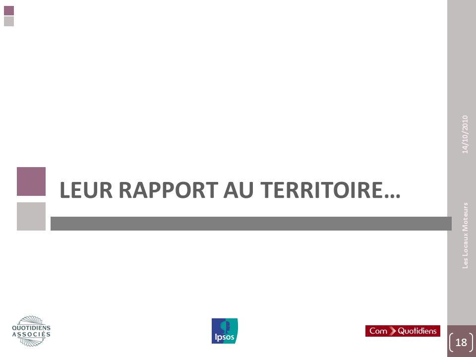 18 Les Locaux Moteurs 14/10/2010 LEUR RAPPORT AU TERRITOIRE…