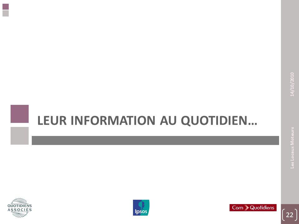 22 Les Locaux Moteurs 14/10/2010 LEUR INFORMATION AU QUOTIDIEN…