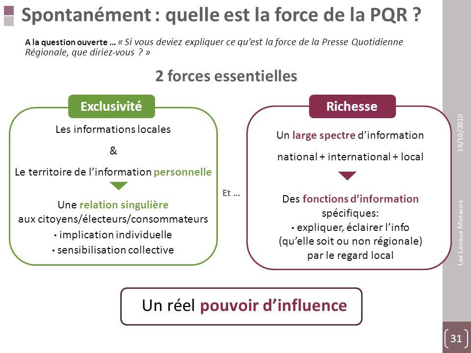 31 Les Locaux Moteurs 14/10/2010 Et … Spontanément : quelle est la force de la PQR .