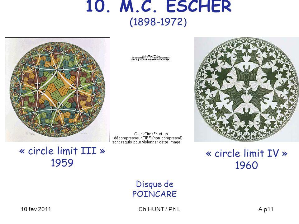 10 fev 2011Ch HUNT / Ph LA p11 « circle limit III » 1959 Disque de POINCARE « circle limit IV » 1960 10. M.C. ESCHER (1898-1972)