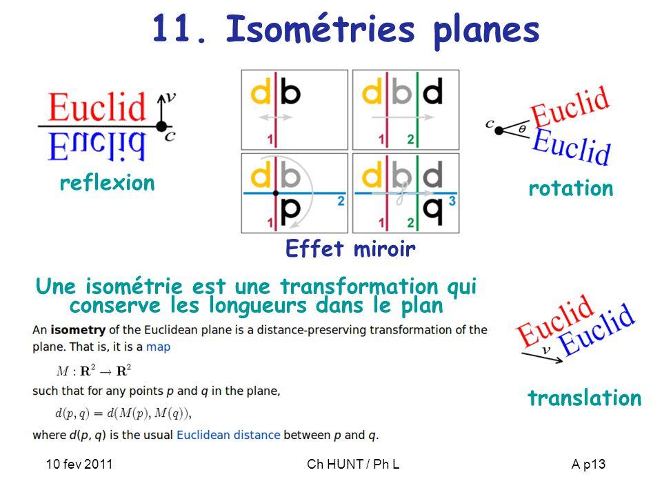10 fev 2011Ch HUNT / Ph LA p13 11. Isométries planes translation reflexion rotation Effet miroir Une isométrie est une transformation qui conserve les