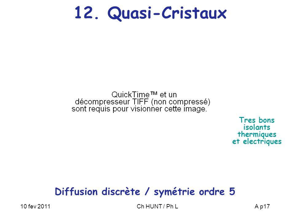 10 fev 2011Ch HUNT / Ph LA p17 12. Quasi-Cristaux Diffusion discrète / symétrie ordre 5 Tres bons isolants thermiques et electriques
