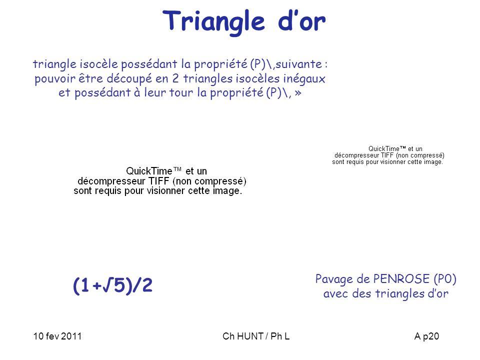 10 fev 2011Ch HUNT / Ph LA p20 Triangle d'or triangle isocèle possédant la propriété (P)\,suivante : pouvoir être découpé en 2 triangles isocèles inégaux et possédant à leur tour la propriété (P)\, » Pavage de PENROSE (P0) avec des triangles d'or (1+√5)/2