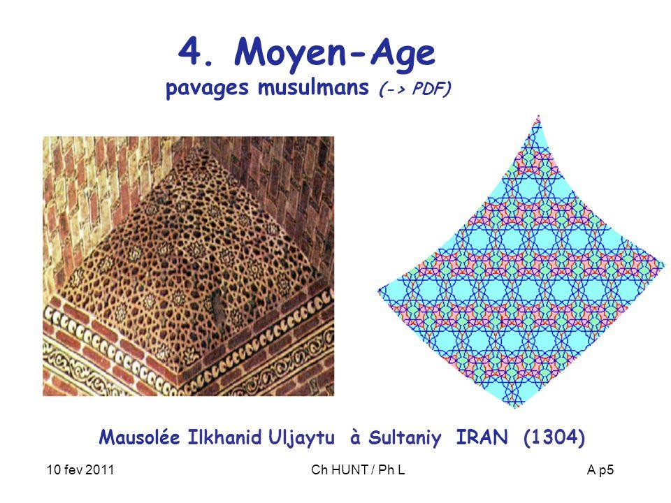 10 fev 2011Ch HUNT / Ph LA p5 4. Moyen-Age pavages musulmans (-> PDF) Mausolée Ilkhanid Uljaytu à Sultaniy IRAN (1304)