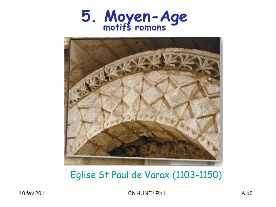 10 fev 2011Ch HUNT / Ph LA p6 5. Moyen-Age motifs romans Eglise St Paul de Varax (1103-1150)