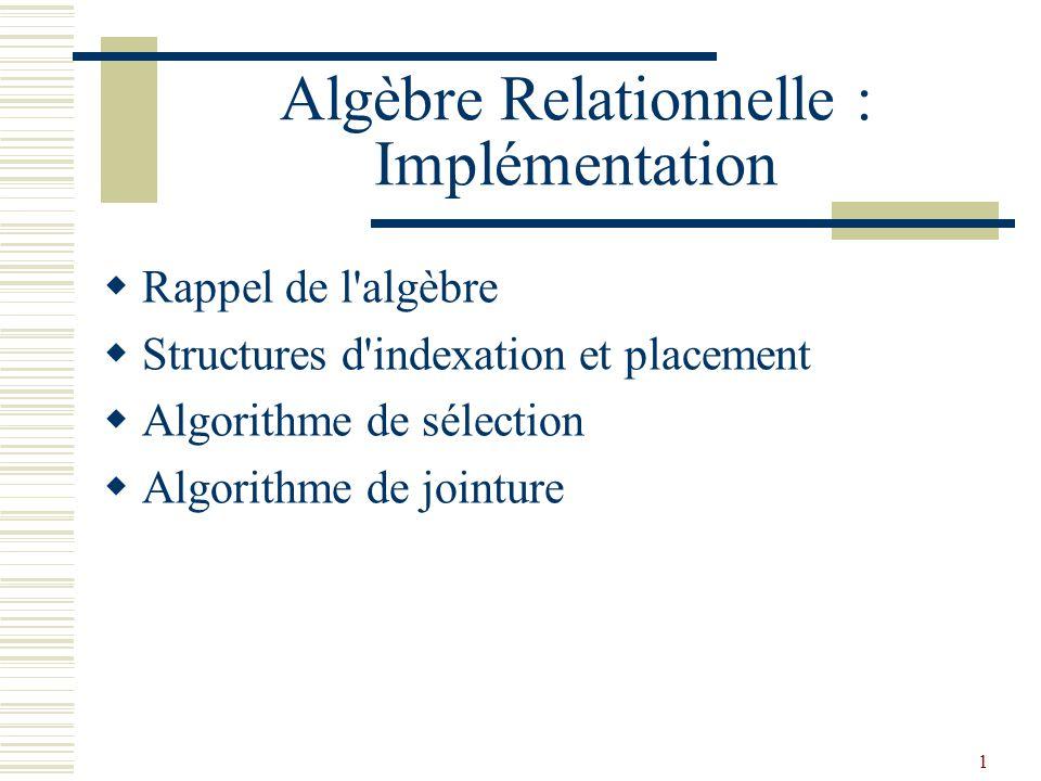 1 Algèbre Relationnelle : Implémentation  Rappel de l'algèbre  Structures d'indexation et placement  Algorithme de sélection  Algorithme de jointu
