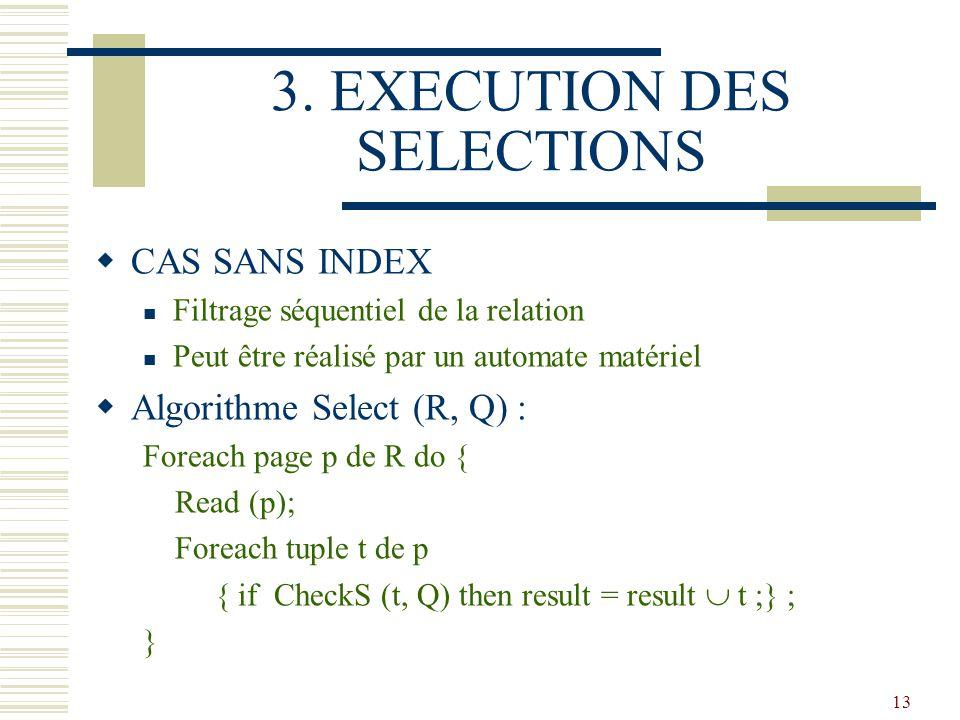 13 3. EXECUTION DES SELECTIONS  CAS SANS INDEX Filtrage séquentiel de la relation Peut être réalisé par un automate matériel  Algorithme Select (R,