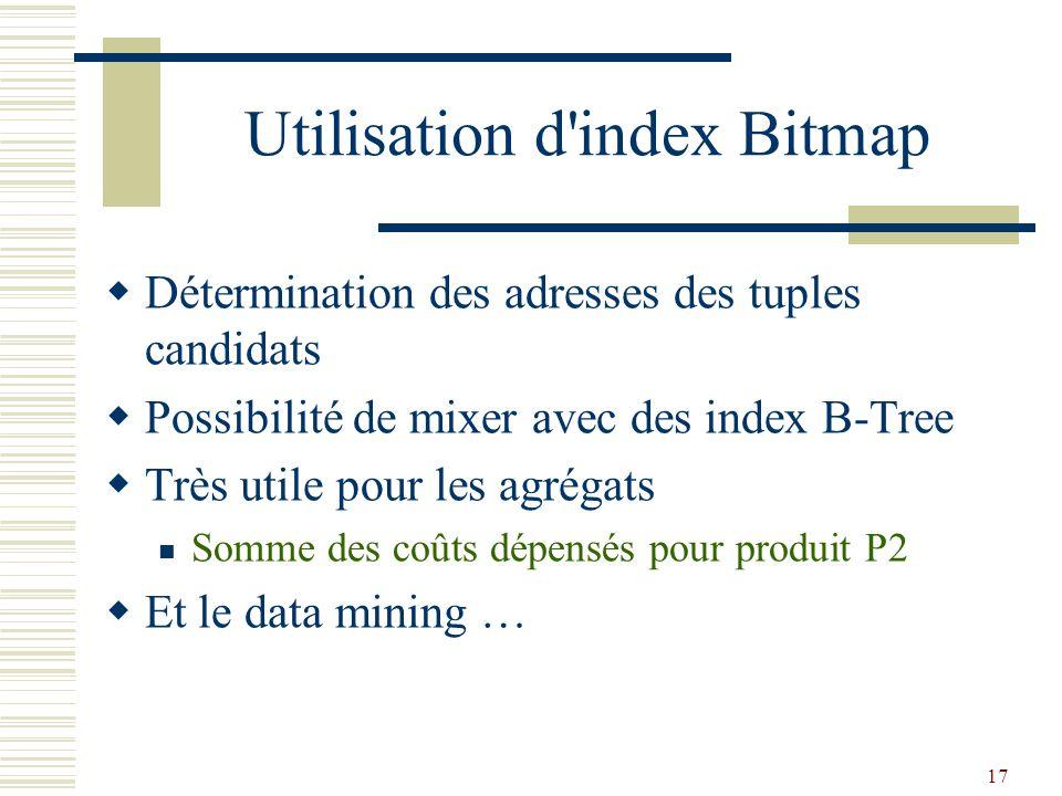 17 Utilisation d'index Bitmap  Détermination des adresses des tuples candidats  Possibilité de mixer avec des index B-Tree  Très utile pour les agr