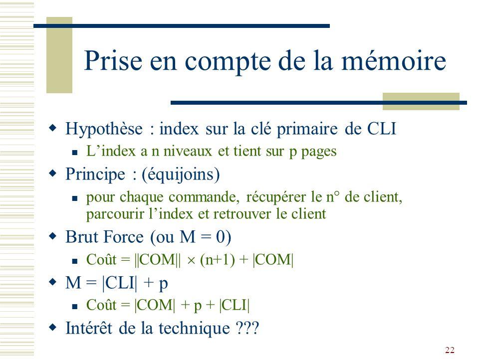 22 Prise en compte de la mémoire  Hypothèse : index sur la clé primaire de CLI L'index a n niveaux et tient sur p pages  Principe : (équijoins) pour