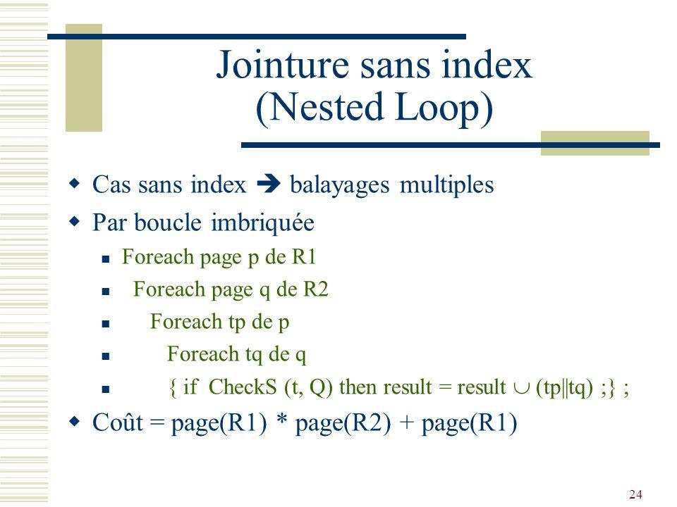 24 Jointure sans index (Nested Loop)  Cas sans index  balayages multiples  Par boucle imbriquée Foreach page p de R1 Foreach page q de R2 Foreach t