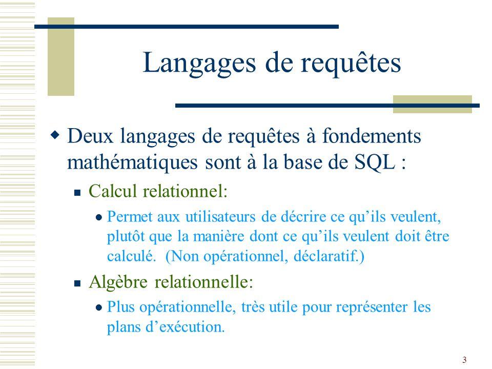 3 Langages de requêtes  Deux langages de requêtes à fondements mathématiques sont à la base de SQL : Calcul relationnel: Permet aux utilisateurs de d