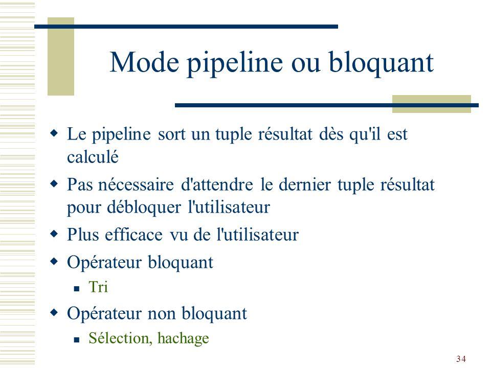 34 Mode pipeline ou bloquant  Le pipeline sort un tuple résultat dès qu'il est calculé  Pas nécessaire d'attendre le dernier tuple résultat pour déb