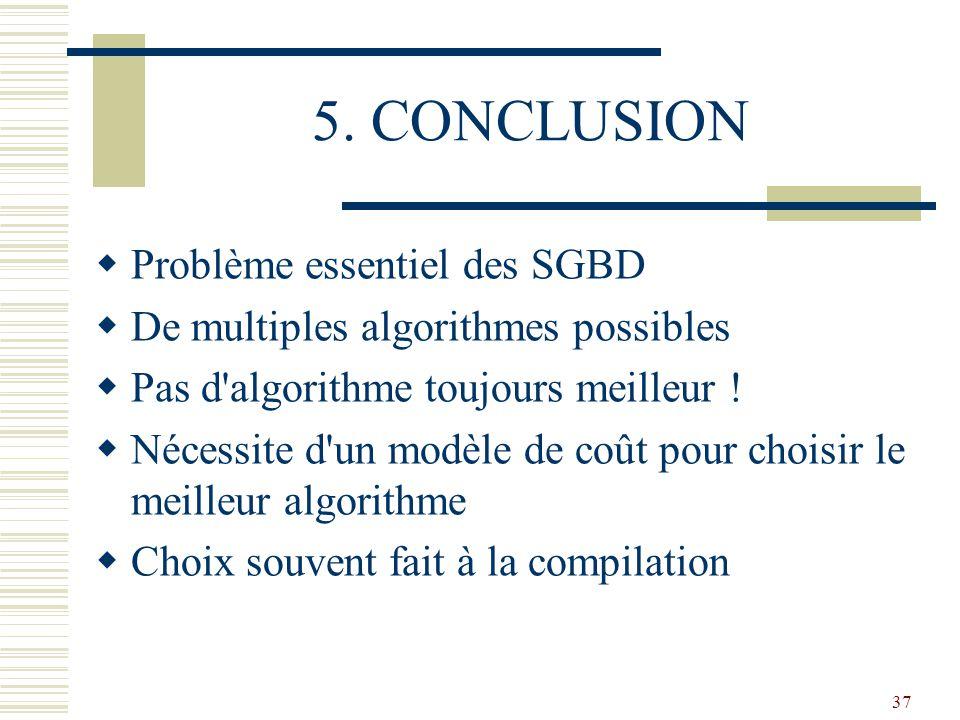 37 5. CONCLUSION  Problème essentiel des SGBD  De multiples algorithmes possibles  Pas d'algorithme toujours meilleur !  Nécessite d'un modèle de