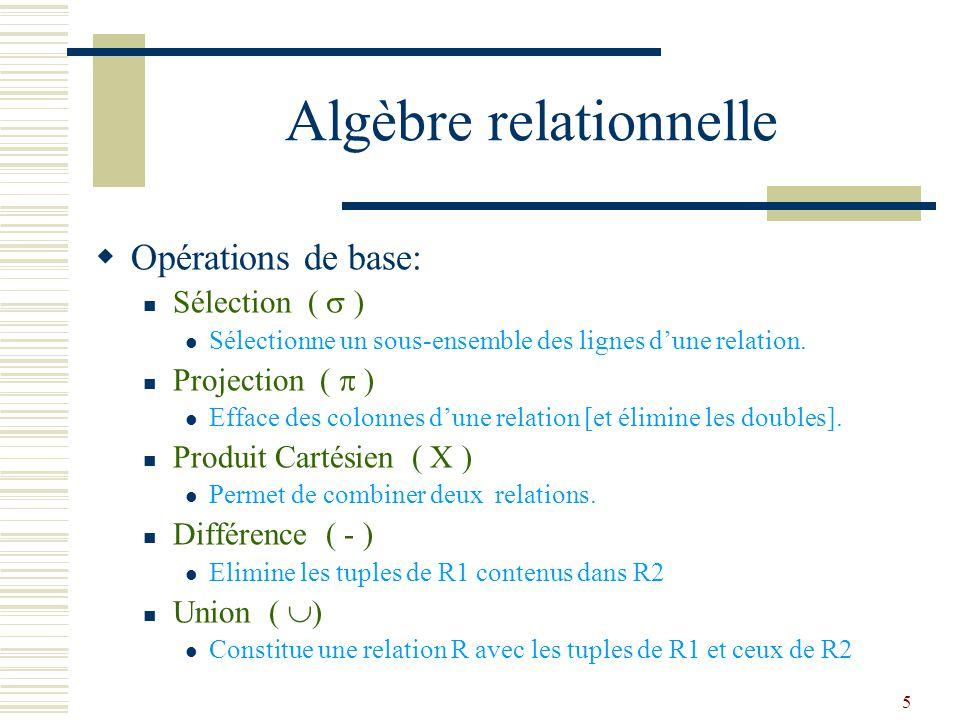6 Algèbre relationnelle  Opérations additionnelles: Jointure ( |  |) Combinaison de produit cartésien et sélection sur colonne  comparables (=,,...) Intersection Constitue une relation R avec les tuples appartenant à la fois à R1 et R2  Chaque opération retournant une relation, les opérations peuvent être composées.