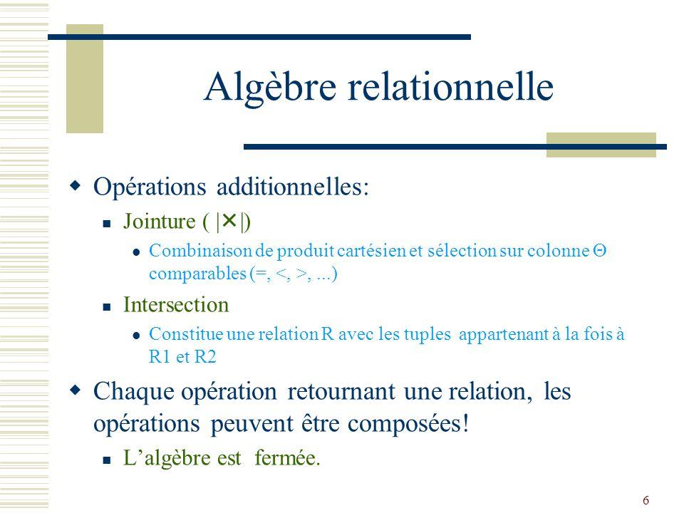 6 Algèbre relationnelle  Opérations additionnelles: Jointure ( |  |) Combinaison de produit cartésien et sélection sur colonne  comparables (=,,...
