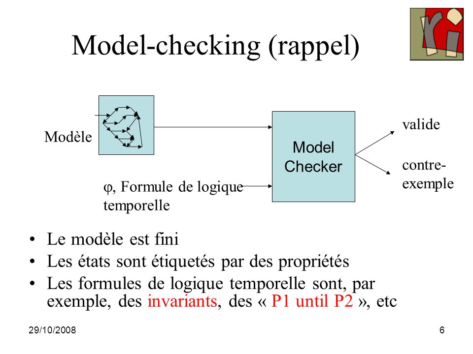 29/10/20087 Model-checking, principes Exploration exhaustive du modèle Différentes représentations du modèle et de la formule –JPF : états explicites Exploration : DFS, BFS, etc –Arrêt d è s que l ' on rencontre un é tat d é j à visit é –On sort la trace courante si on rencontre un é tat qui ne satisfait pas la propri é t é => contre-exemple