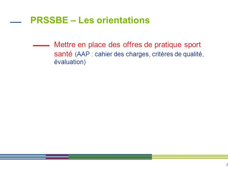 2 PRSSBE – Les orientations Mettre en place des offres de pratique sport santé (AAP : cahier des charges, critères de qualité, évaluation)