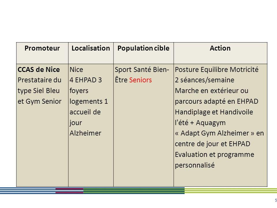 5 PromoteurLocalisationPopulation cibleAction CCAS de Nice Prestataire du type Siel Bleu et Gym Senior Nice 4 EHPAD 3 foyers logements 1 accueil de jo