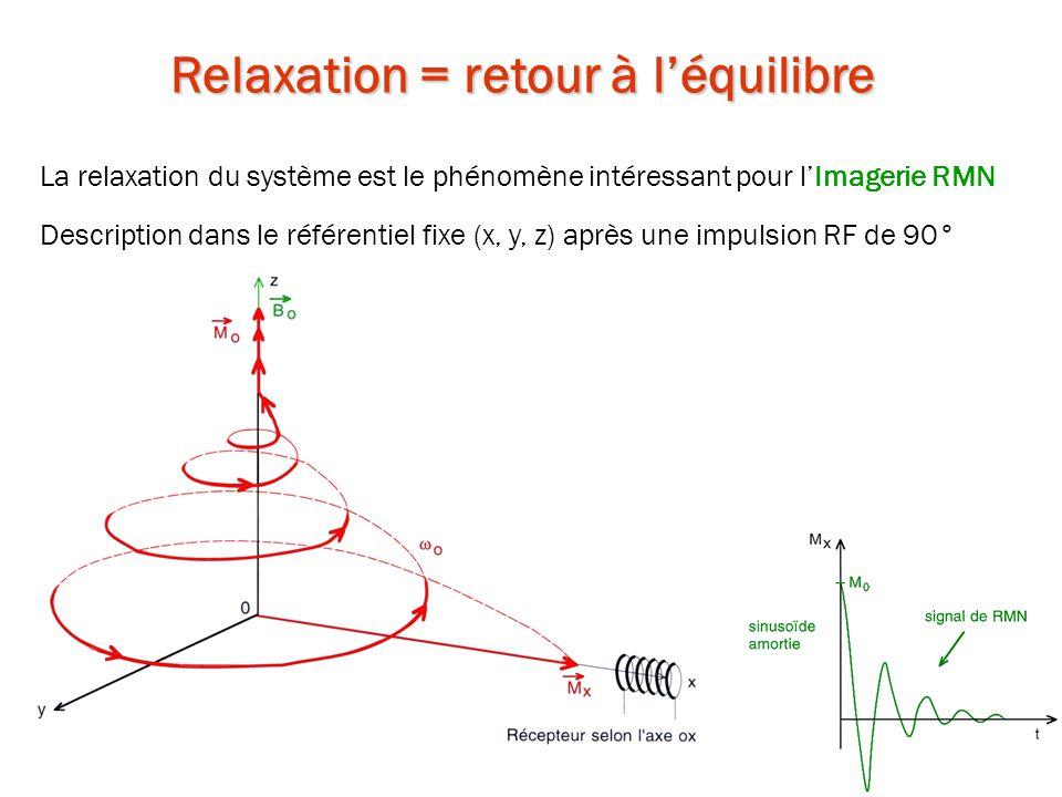 Relaxation = retour à l'équilibre La relaxation du système est le phénomène intéressant pour l'Imagerie RMN Description dans le référentiel fixe (x, y