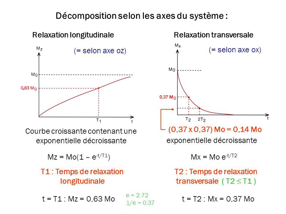 Décomposition selon les axes du système : Relaxation longitudinaleRelaxation transversale Courbe croissante contenant une exponentielle décroissante e
