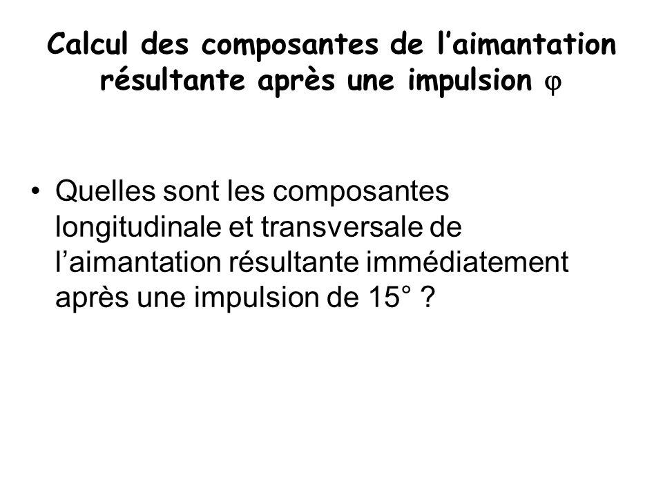 Calcul des composantes de l'aimantation résultante après une impulsion  Quelles sont les composantes longitudinale et transversale de l'aimantation r