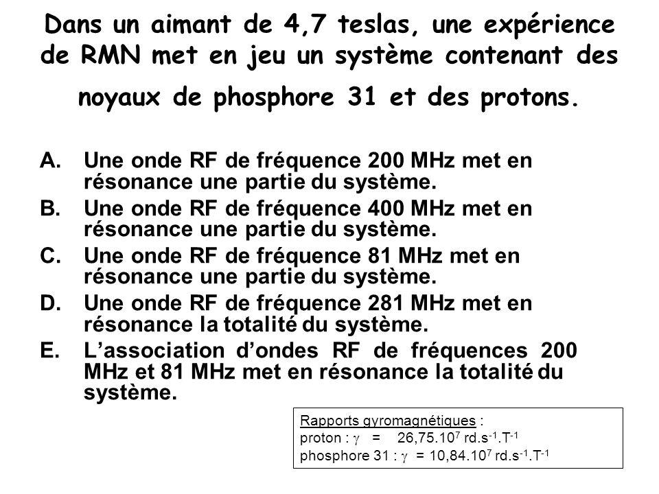 Dans un aimant de 4,7 teslas, une expérience de RMN met en jeu un système contenant des noyaux de phosphore 31 et des protons. A.Une onde RF de fréque
