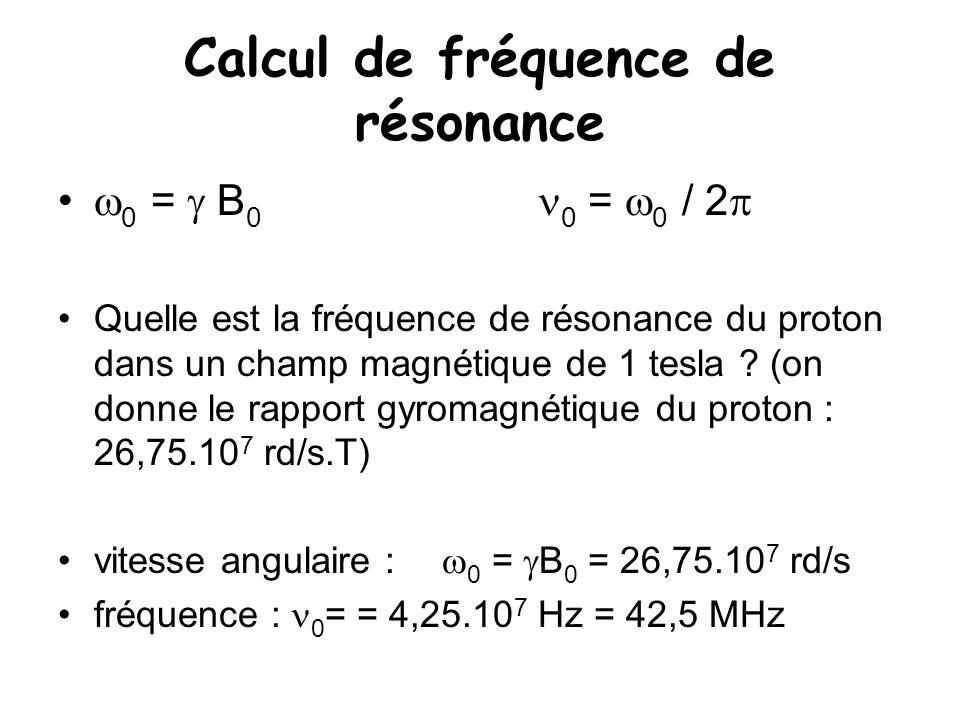 Calcul de fréquence de résonance  0 =  B 0 0 =  0 / 2  Quelle est la fréquence de résonance du proton dans un champ magnétique de 1 tesla ? (on do