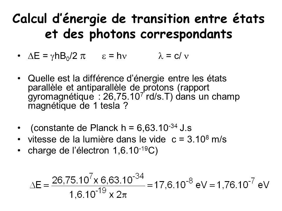 Calcul d'énergie de transition entre états et des photons correspondants  E =  hB 0 /2   = h = c/ Quelle est la différence d'énergie entre les éta
