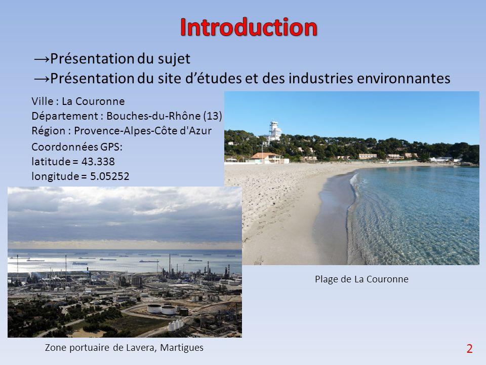 → Présentation du sujet → Présentation du site d'études et des industries environnantes Ville : La Couronne Département : Bouches-du-Rhône (13) Région