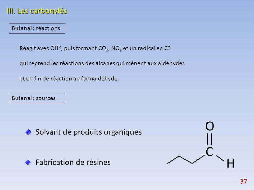 Solvant de produits organiques Fabrication de résines III. Les carbonylés Butanal : sources O H C Butanal : réactions Réagit avec OH°, puis formant CO