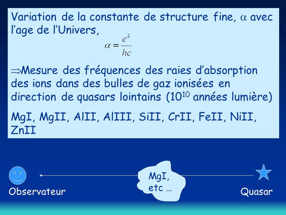Variation de la constante de structure fine,  avec l'age de l'Univers,  Mesure des fréquences des raies d'absorption des ions dans des bulles de gaz