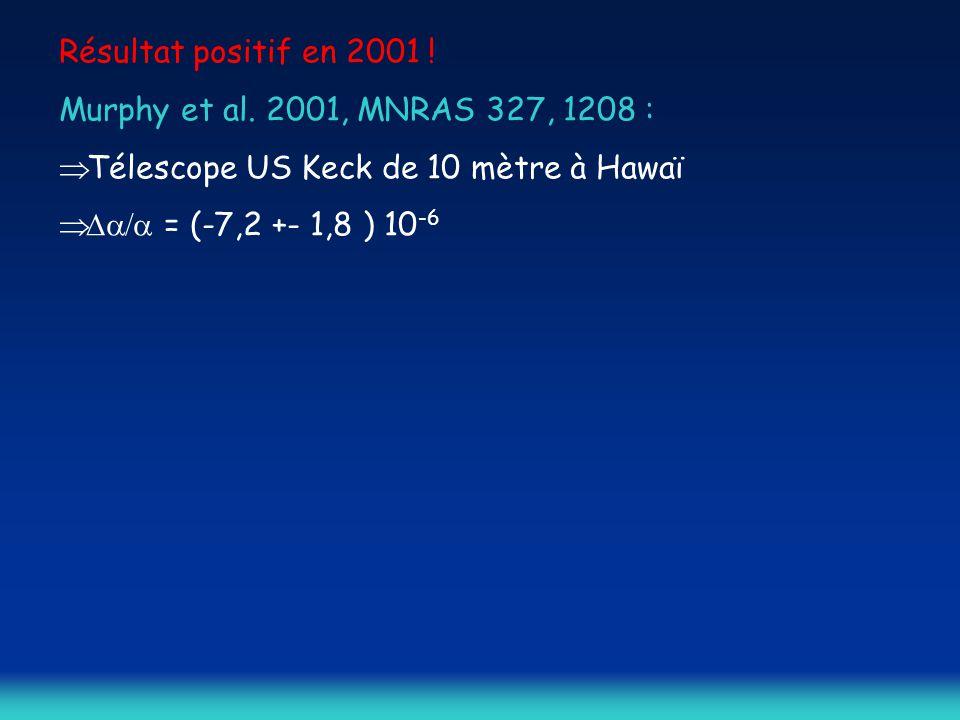 Résultat positif en 2001 ! Murphy et al. 2001, MNRAS 327, 1208 :  Télescope US Keck de 10 mètre à Hawaï  = (-7,2 +- 1,8 ) 10 -6