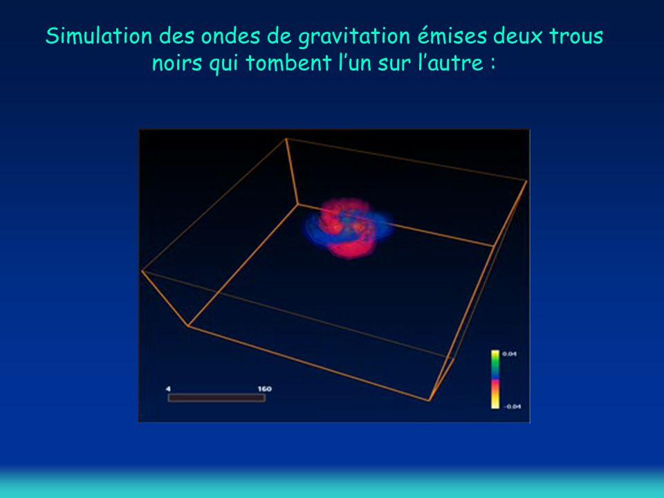 Simulation des ondes de gravitation émises deux trous noirs qui tombent l'un sur l'autre :