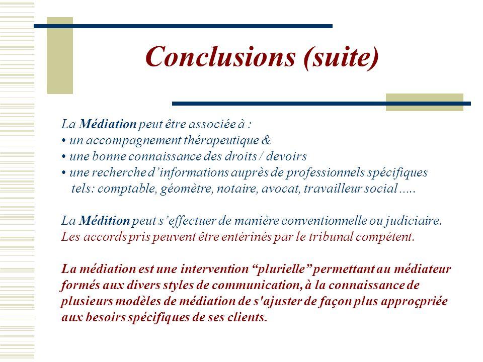 Conclusions (suite) La Médiation peut être associée à : un accompagnement thérapeutique & une bonne connaissance des droits / devoirs une recherche d'informations auprès de professionnels spécifiques tels: comptable, géomètre, notaire, avocat, travailleur social…..