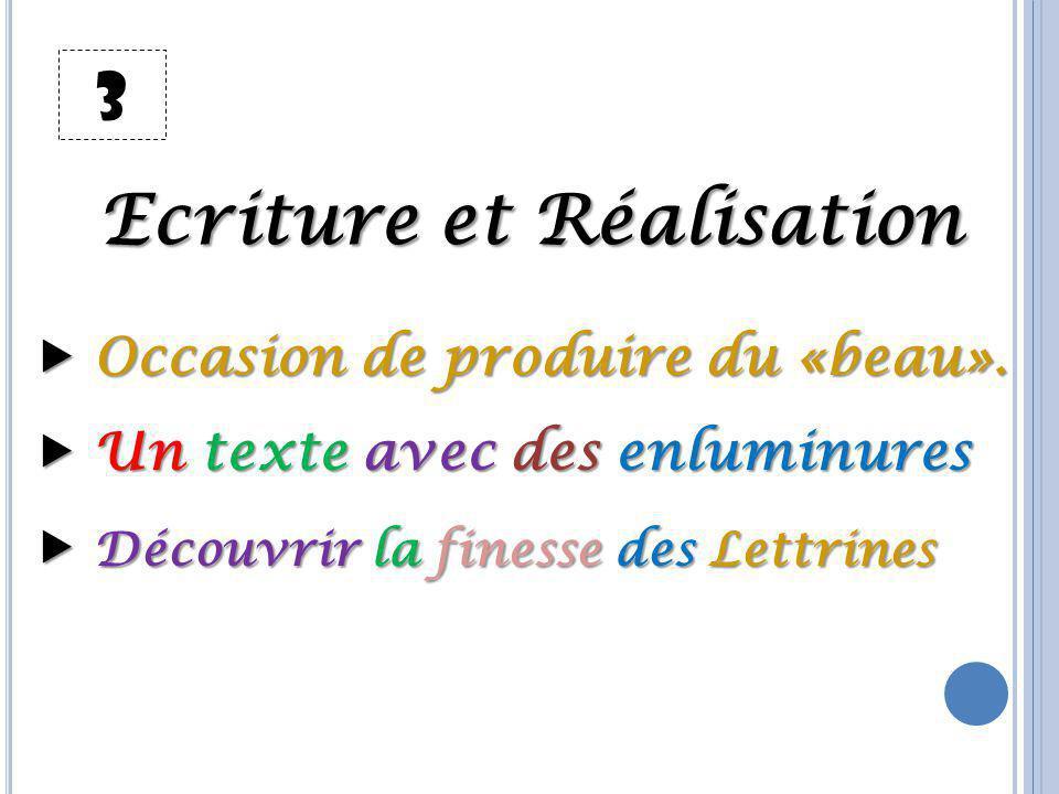 3 Ecriture et Réalisation  Occasion de produire du «beau».  Un texte avec des enluminures  Découvrir la finesse des Lettrines