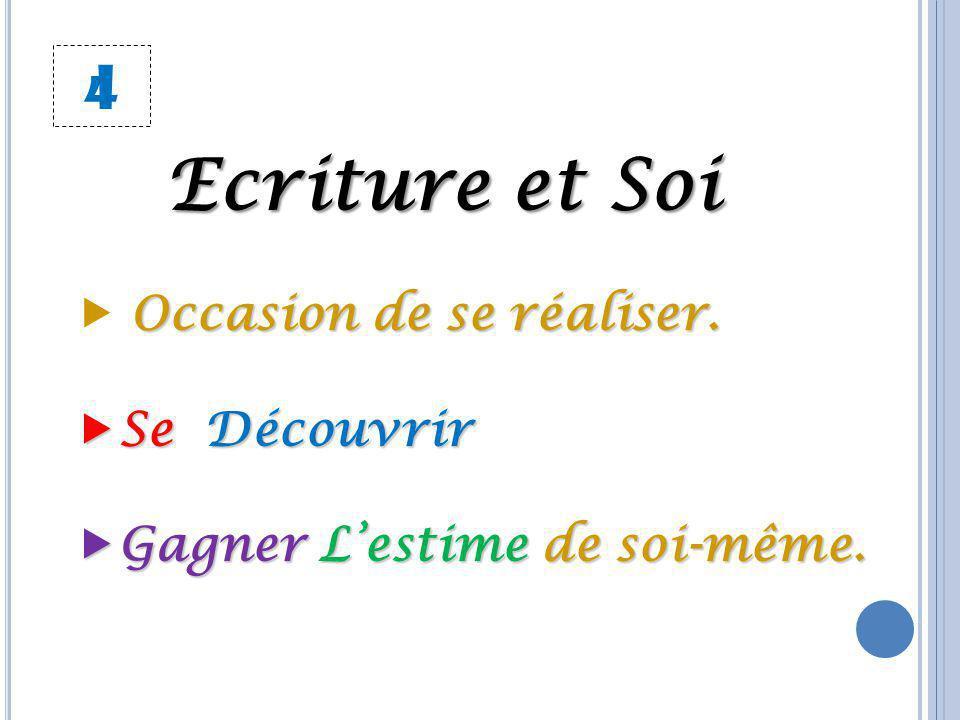 4 Ecriture et Soi Occasion de se réaliser.  Occasion de se réaliser. Se Découvrir Gagner L'estime de soi-même.