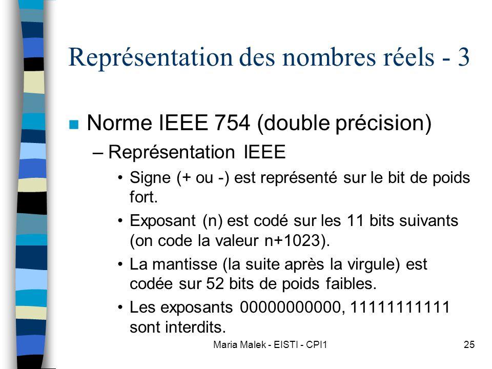 Maria Malek - EISTI - CPI125 Représentation des nombres réels - 3 n Norme IEEE 754 (double précision) –Représentation IEEE Signe (+ ou -) est représenté sur le bit de poids fort.