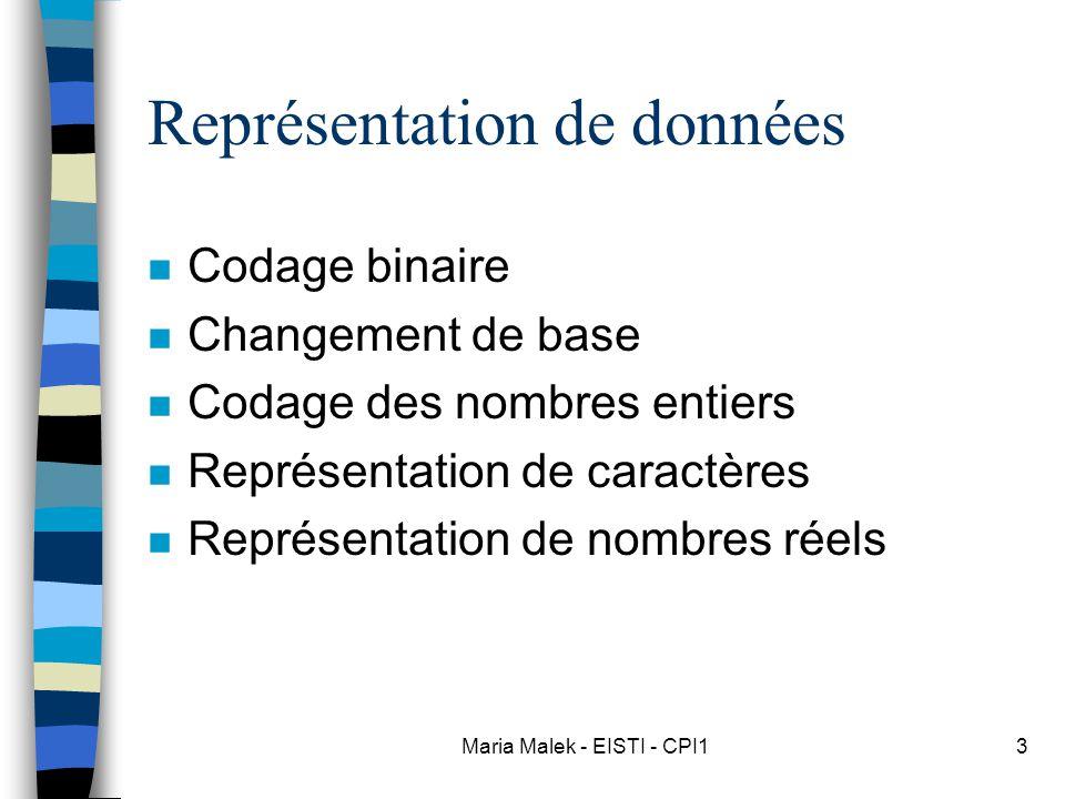 Maria Malek - EISTI - CPI13 Représentation de données n Codage binaire n Changement de base n Codage des nombres entiers n Représentation de caractères n Représentation de nombres réels