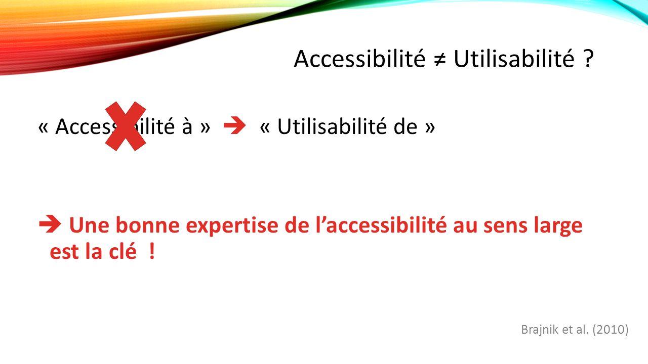 Accessibilité ≠ Utilisabilité .